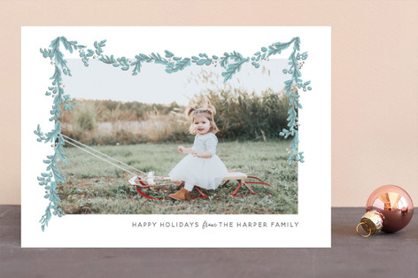 Wispy Garland Holiday Photo Cards