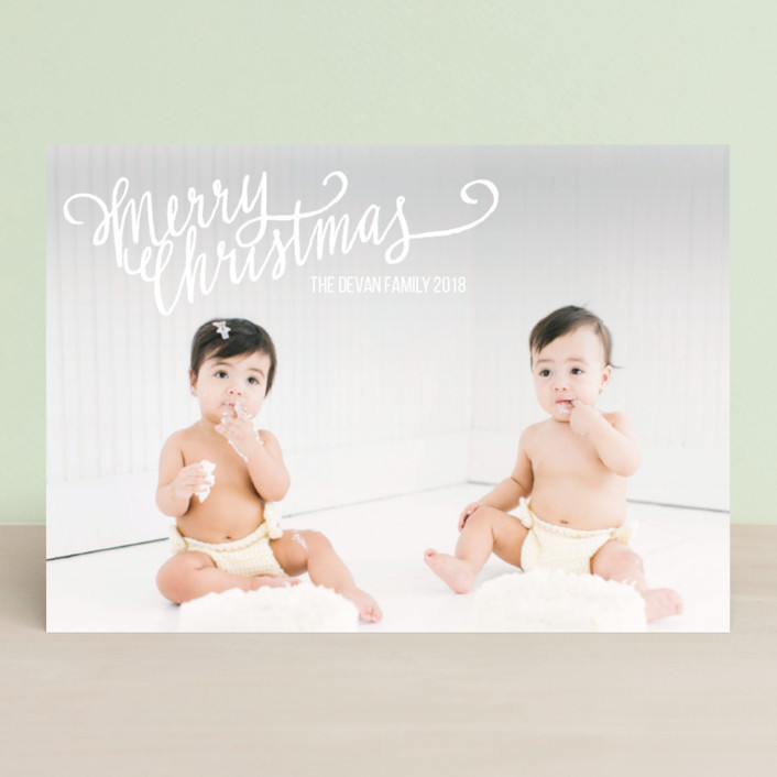 """""""Merry Scriptmas"""" - Elegant, Full-Bleed Photo Holiday Photo Cards in Snow by Rebecca Turner."""