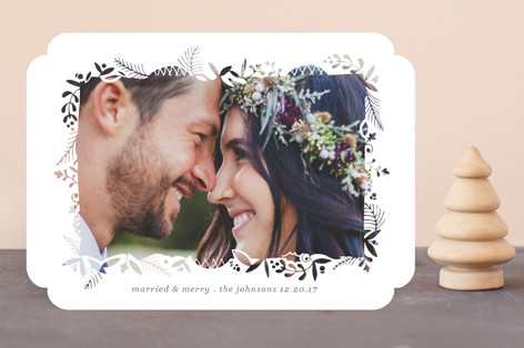 Foliage Cutout Frame Holiday Photo Cards