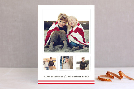 Modern Candy Stripes Holiday Photo Cards