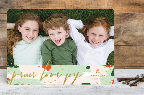 Painterly Peace Holiday Photo Cards
