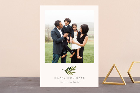 Simple Olive Branch Holiday Photo Cards