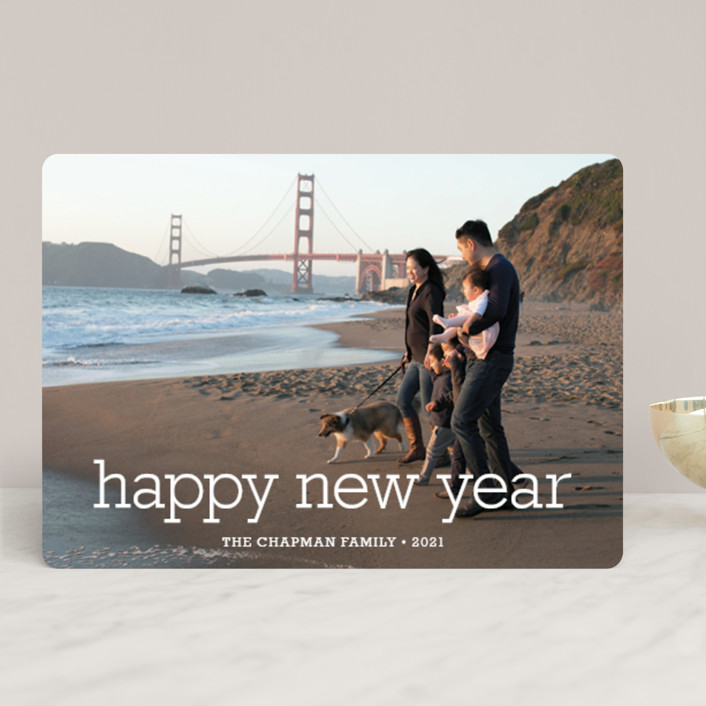 """Happy Everything"" - Bold typographic, Minimalist New Year Photo Cards in Snow by annie clark."