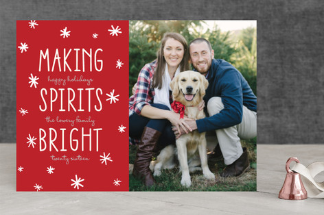 Bright Snowflake Spirits Holiday Photo Cards