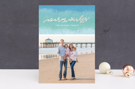 Dip Dyed Wishes Holiday Photo Cards