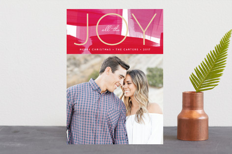 Modern Painted Joy Holiday Photo Cards