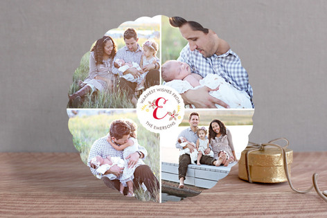 Monogram Wreath Holiday Photo Cards