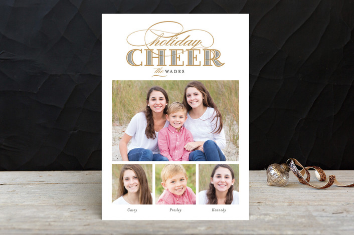"""""""Gilded Cheer"""" - Photo Collage Holiday Photo Cards in Gold by Alston Wise."""