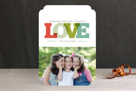 Joy Peace & Love Holiday Photo Cards