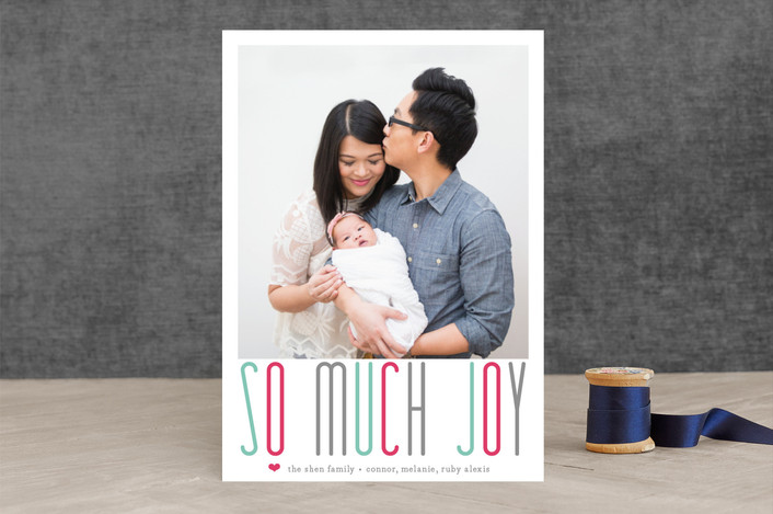 """""""A Whole Lot of Joy"""" - Typography, Bold typographic Holiday Photo Cards in Teal by Lizzy McGinn."""