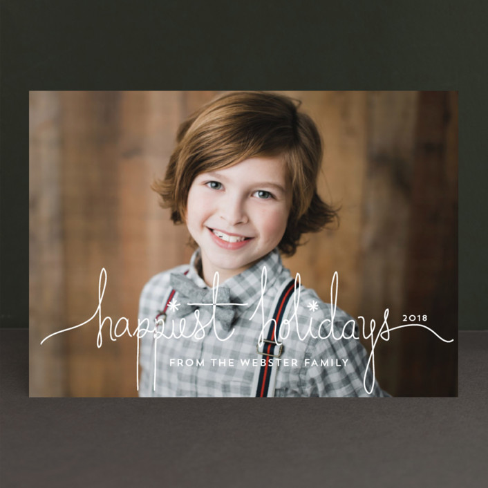 """Holiday Revelry"" - Modern, Full-Bleed Photo Holiday Photo Cards in Frost by Design Lotus."