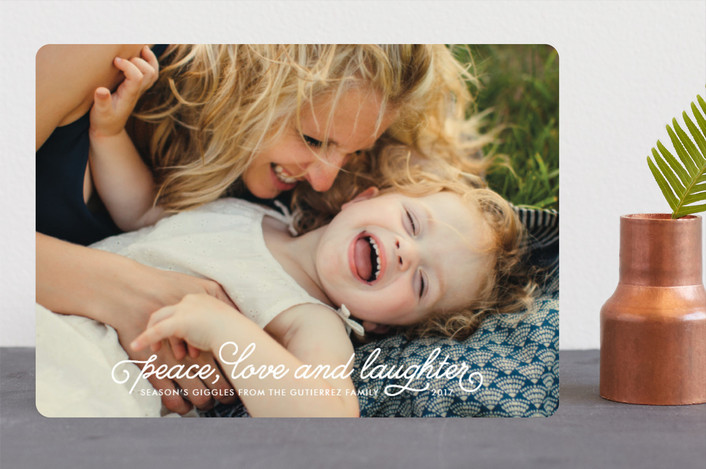 """""""Season's Giggles"""" - Full-Bleed Photo Holiday Photo Cards in Snow by Natalie Nakai."""