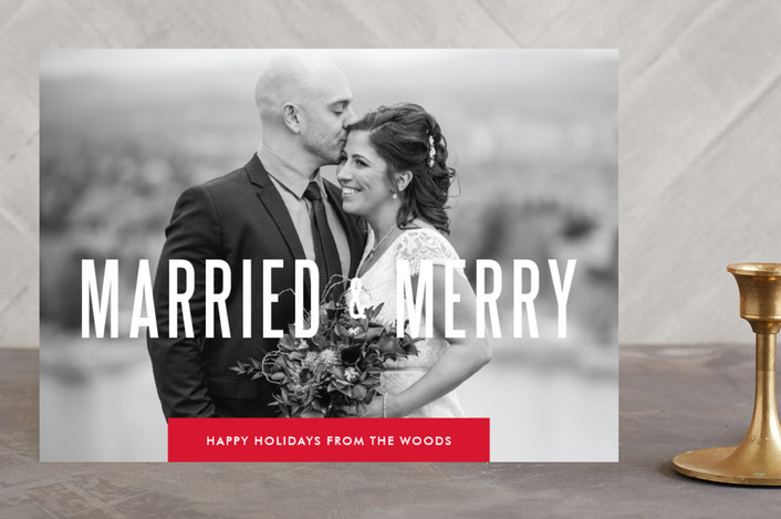 """""""Married & Merry"""" - Typography, Full-Bleed Photo Holiday Photo Cards in Berry by Cheer Up Press."""