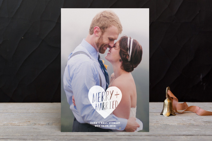 """Merry + Married"" - Full-Bleed Photo, Minimalist Holiday Photo Cards in Frost by Kimberly Chow."