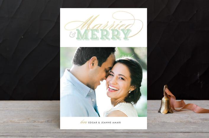 """Gilded Type"" - Elegant Holiday Photo Cards in Green Tea by Leslie Ann Jones."