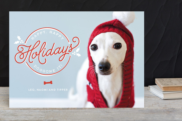 """Doggone It"" - Funny, Full-Bleed Photo Holiday Photo Cards in Holly by Lesa Abney."