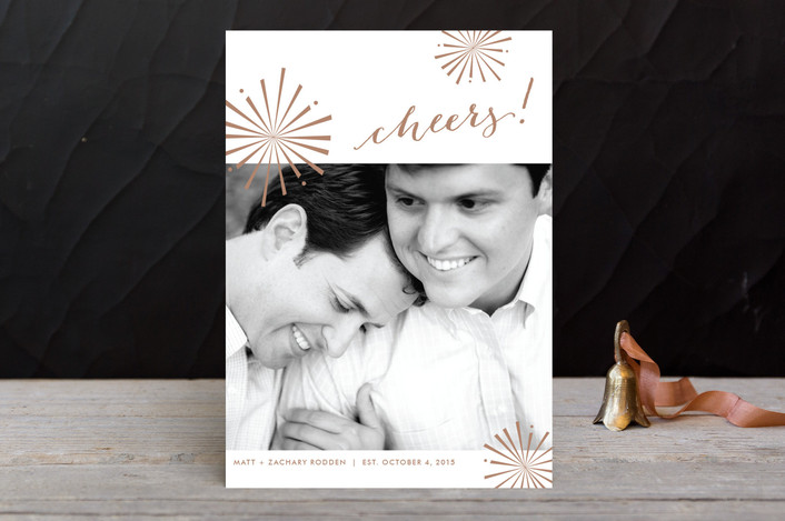 """Starburst"" - Modern Holiday Photo Cards in Copper by Fig and Cotton."