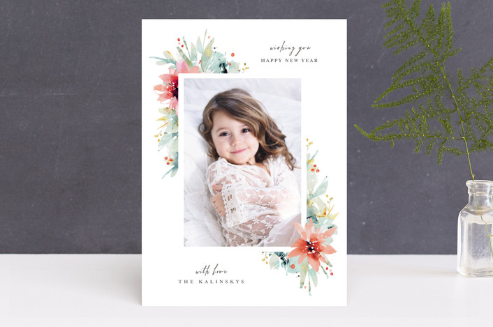 """""""Watercolor Florals"""" - Flora & Fauna, Floral & Botanical Holiday Photo Cards in White by Lori Wemple."""