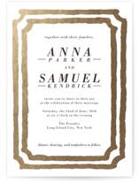 Watercolor Frame Foil-Pressed Wedding Invitations