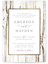 Gilded Woodgrain Foil-Pressed Wedding Invitations