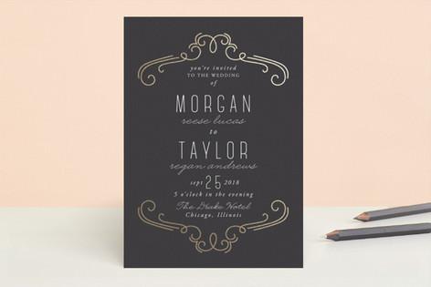 Modern Scrolls Foil-Pressed Wedding Invitations