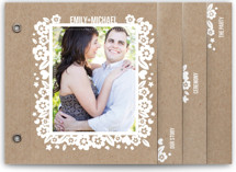 White Blossoms Paper Cut Out Wedding Invitation Minibook™ Cards