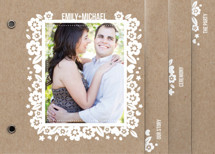 White Blossoms Paper Cut Out Wedding Invitation Minibook&amp;trade; Cards