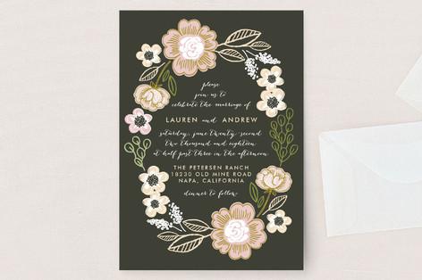 Botanical Wreath Wedding Invitation Petite Cards