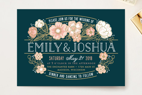 Country Florals Wedding Invitation Petite Cards