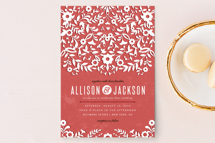 Rustic red wedding invitation