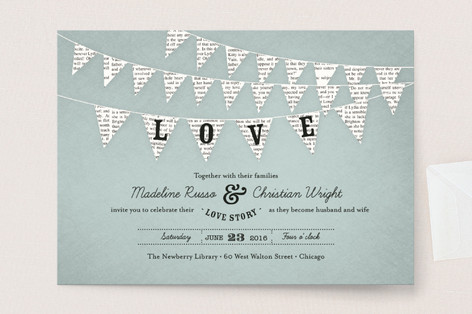 love banner wedding invitation