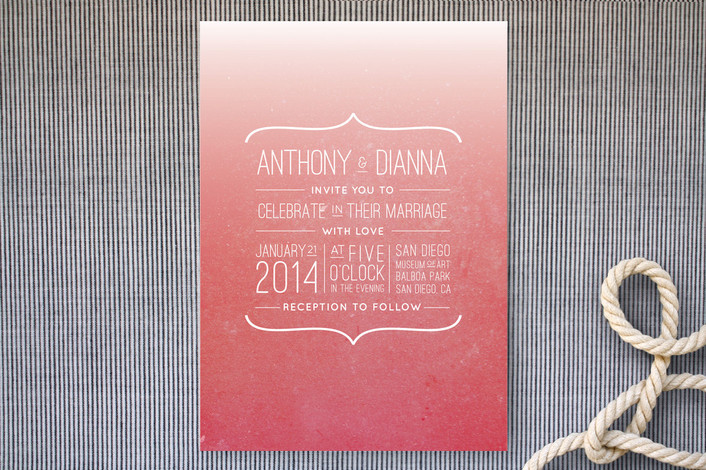 modern red wedding invitation