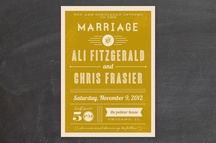 Retro Yellow Wedding Invitation