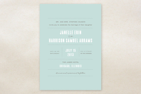 blue wedding invitation