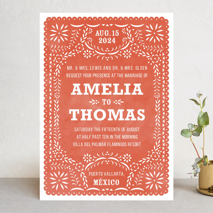 red lace wedding invitation