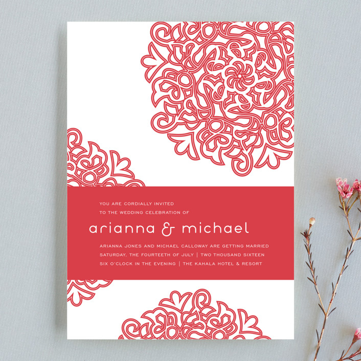 red flowers wedding invitation