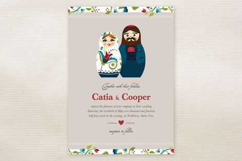 Russian Nesting Dolls Wedding Invitations