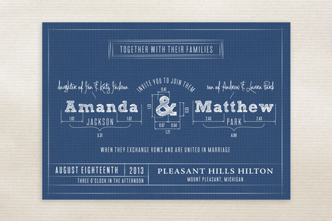 blueprint wedding invite