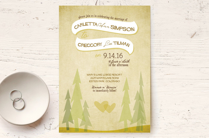 hearts and evergreen trees wedding invitations