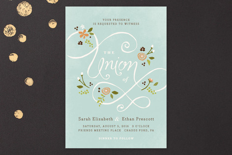 blue union wedding invitation