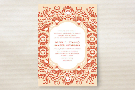 Indian Blessings Wedding Invitations Created for you by Minted's global