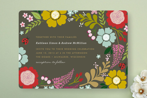 retro flowers wedding invite