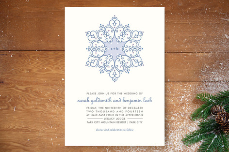 monogram snowflake wedding invitation