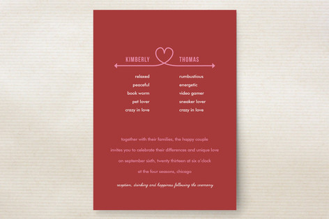 heart knot wedding invitation