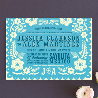 retro blue wedding invitation