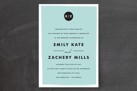 monogram blue wedding invitation