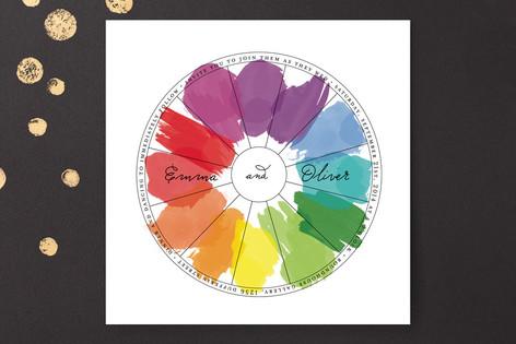 Watercolor Wheel Wedding Invitations