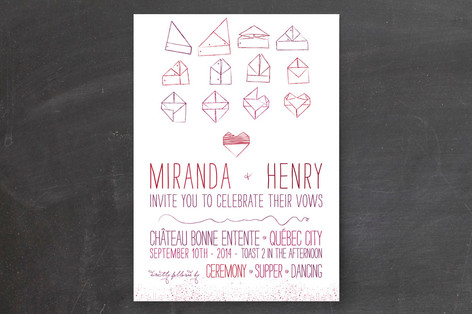 origami heart wedding invitations by cycling pear minted