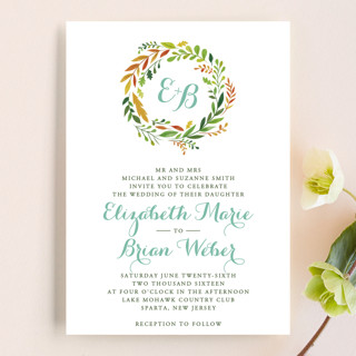 Forest Wreath Wedding Invitations