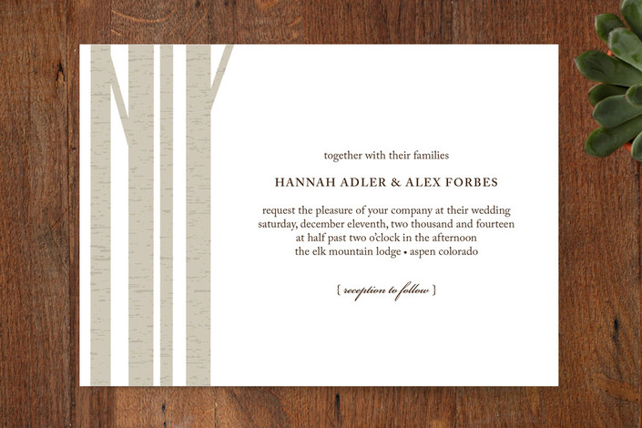 oak tree trunks wedding invitations